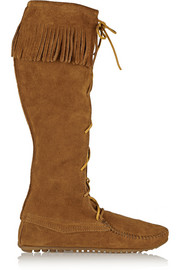 + Minnetonka fringed suede knee boots