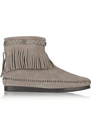 Finds + Minnetonka embellished fringed suede ankle boots