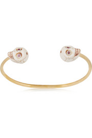 Finds + Figue Skull brass, ruby and bone cuff