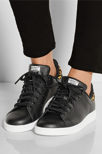 f21eacc521ef Stan Smith leopard print-trimmed leather sneakers
