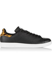 Stan Smith leopard print-trimmed leather sneakers