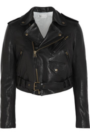 Thin Bubble cropped leather biker jacket
