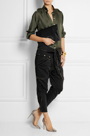 Treillis cropped cotton tapered pants
