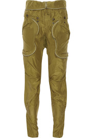 Treillis cropped silk-satin tapered pants