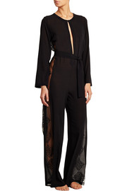 La Perla Tribal Dream lace-paneled stretch silk-blend jumpsuit