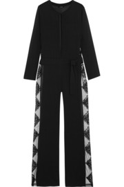 Tribal Dream lace-paneled stretch silk-blend jumpsuit