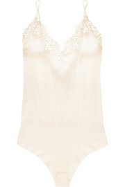 Petit Macrame lace-trimmed stretch silk-blend georgette bodysuit