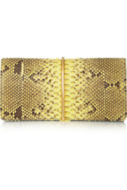 Nina Ricci Arc python, elaphe and leather clutch