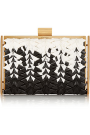 Ecrin woven grosgrain and leather box clutch