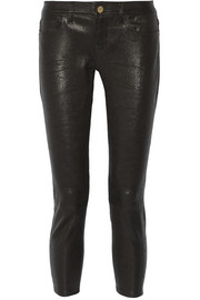 Le Garcon textured-leather slim boyfriend pants
