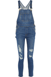 Le Garcon distressed stretch-denim overalls
