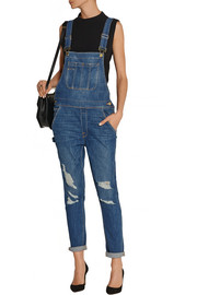 Frame Denim Le Garcon distressed stretch-denim overalls