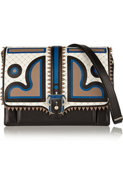 Caroline appliquéd leather shoulder bag