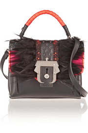 Dun Dun mini feather-embellished shoulder bag