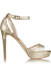 Kayden metallic textured-leather platform sandals