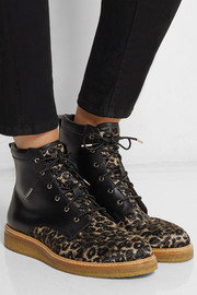 Halden leopard-print raffia and leather ankle boots