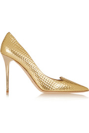 Jimmy Choo Avril embossed metallic leather pumps