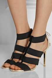 Dario elastic and mirrored-leather sandals