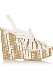 Perdita leather and raffia wedge sandals