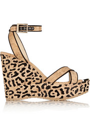Papyrus leopard-print cork wedge sandals