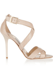 Lottie snake-effect leather sandals