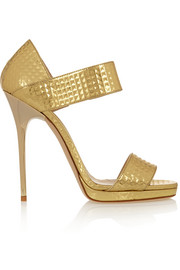 Jimmy Choo Lee embossed metallic leather sandals