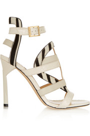 Vanquish elaphe and zebra-print calf hair sandals