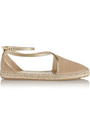 Donna studded suede and metallic leather espadrilles