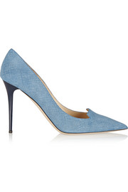 Jimmy Choo Avril denim-effect suede pumps
