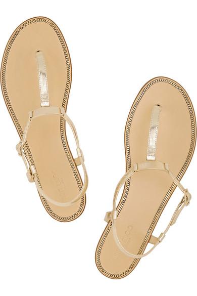 819c3af44de5fb Jimmy Choo. Wave metallic leather sandals.  315. Zoom In