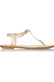 Wave metallic leather sandals