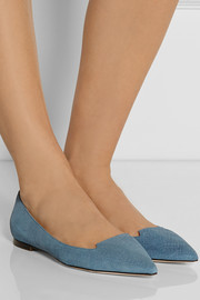 Jimmy Choo Attila denim-effect suede point-toe flats