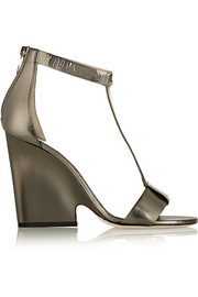 Metallic textured-leather wedge sandals