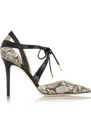 Lapris elaphe and leather pumps