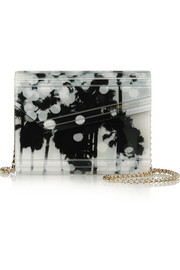 Candy printed acrylic and leather clutch