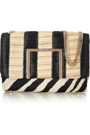 Jimmy Choo Alba raffia and calf hair shoulder bag