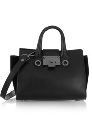 Jimmy Choo Riley suede-paneled leather shoulder bag