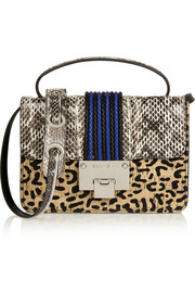 Jimmy Choo Rebel elaphe, leather and cork shoulder bag