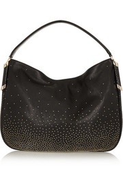 Zoe elaphe-trimmed studded leather shoulder bag