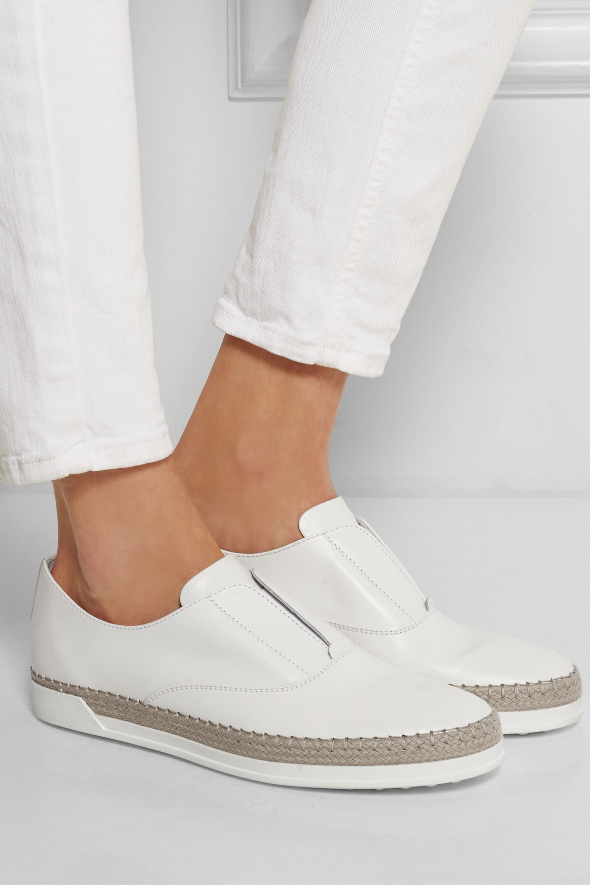 White Leather espadrille sneakers | Tod