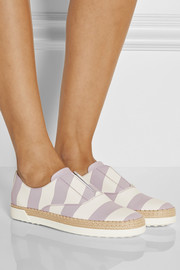Striped leather espadrille sneakers