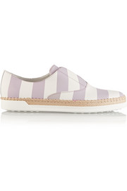 Striped leather and raffia sneakers