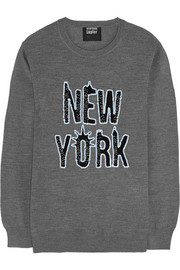 New York sequined merino wool sweater