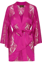 Soirée Emie paneled silk-satin and lace robe