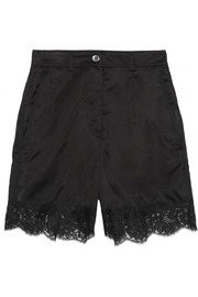 Lace-trimmed satin shorts