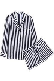 Lilian striped washed-silk pajama set
