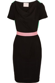 Ayden color-block wool-blend crepe dress