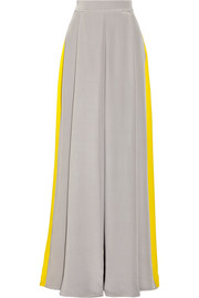 Two-tone crepe de chine maxi skirt