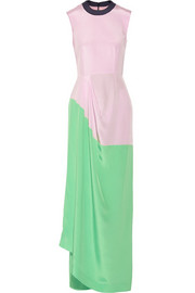 Color-block cotton-blend crepe gown