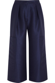 Cotton and silk-blend culottes